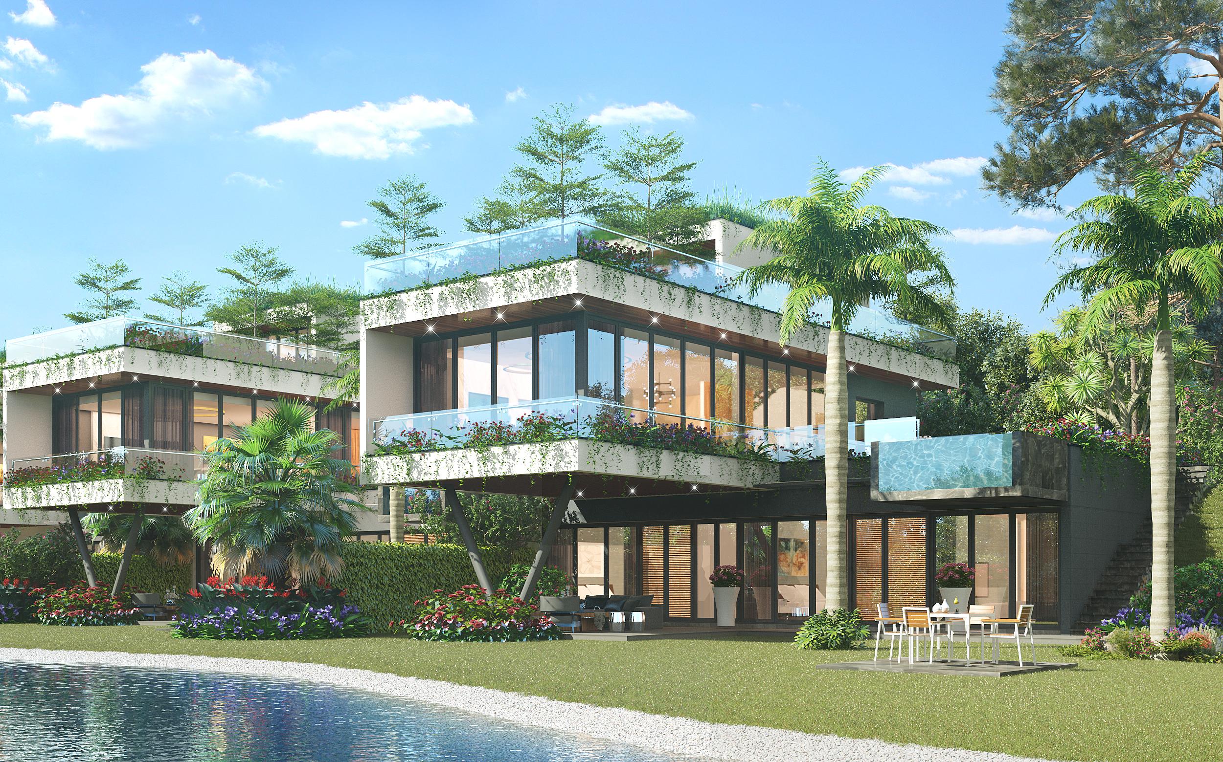 Thiết kế mặt sau biệt thự đơn lập the legend villas flamingo đại lải
