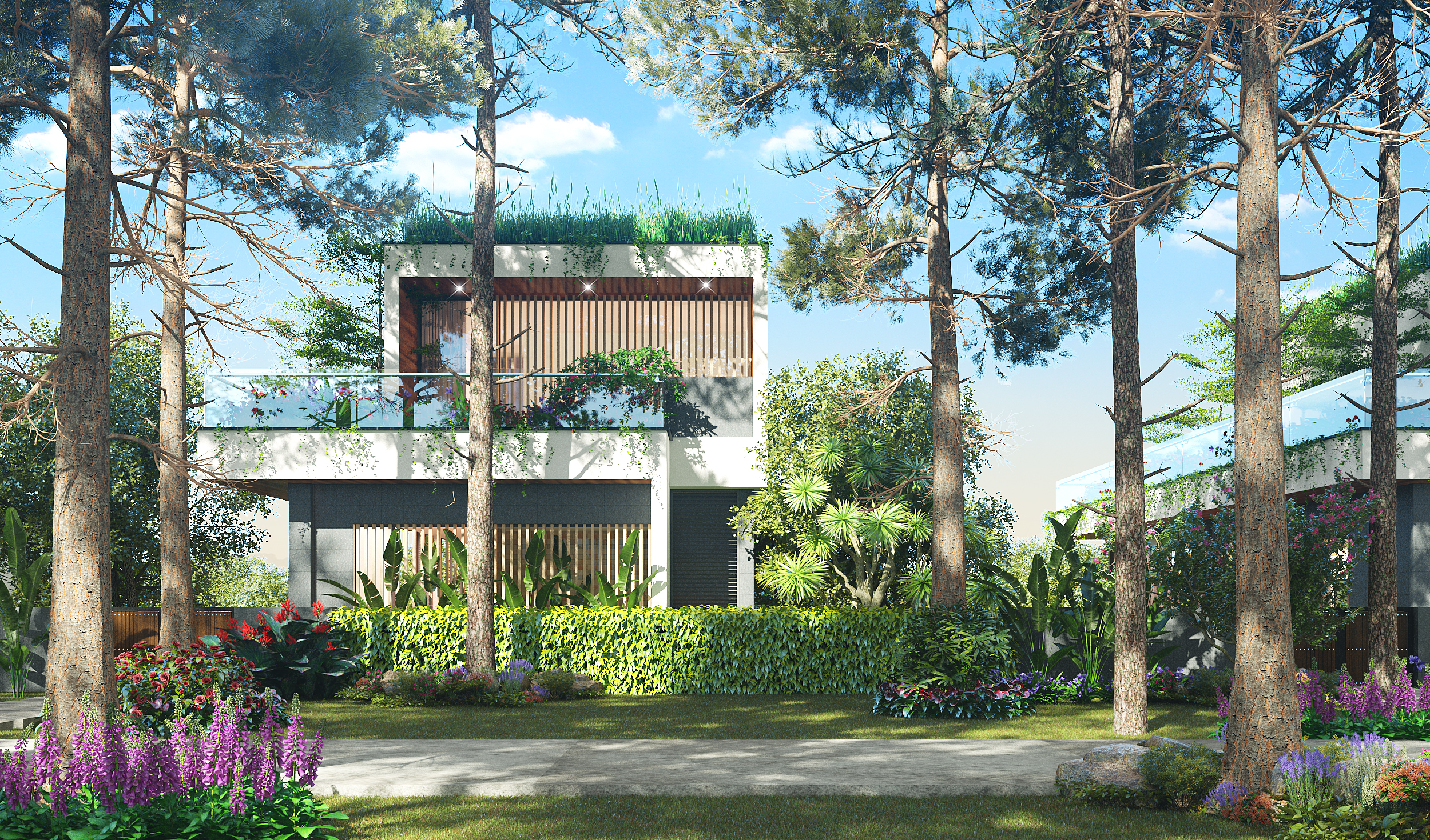 Thiết kế mặt trước biệt thự đơn lập the legend villas flamingo đại lải