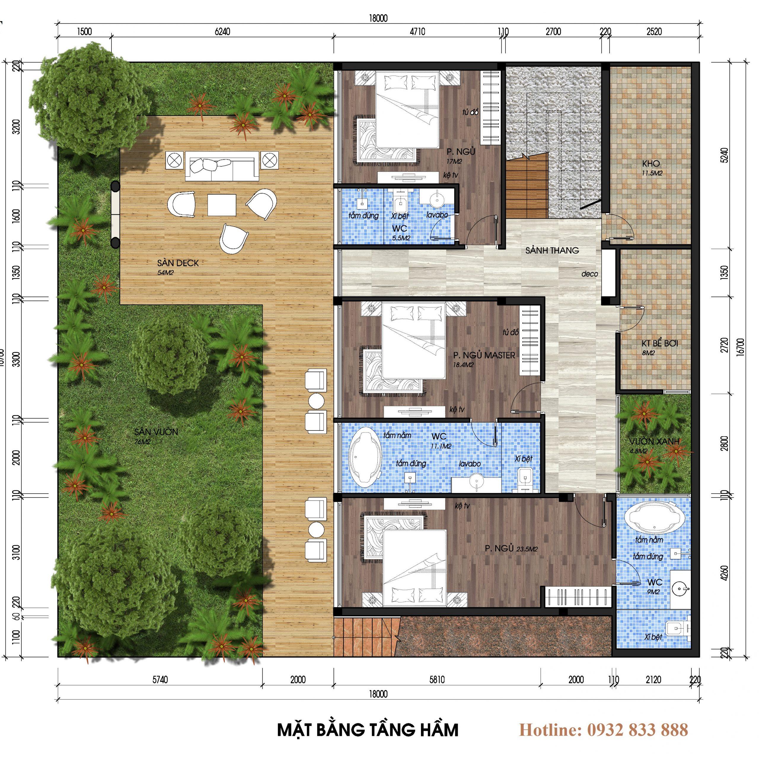 Thiết kế tầng 1 biệt thự đơn lập the legend villas flamingo đại lải